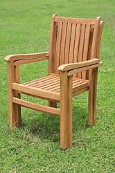 Qty 2 - Cahyo A-Grade Teak Wood Dining Stacking Arm Chair Pair Outdoor Furniture