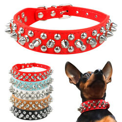Adjustable Spiked Studded Rivets Leather Dog Collars For S M Dogs Puppy XXS L $8.99