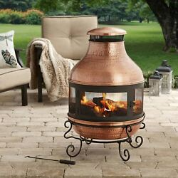 Better Homes and Gardens 39 Inch Tall Copper Outdoor Hammered Chiminea Fire Pit