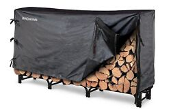 New Metal Firewood Rack Wood Firewood Log Fireplace Storage 8' Outdoor W Cover