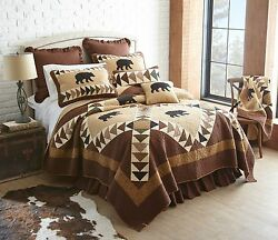 Donna Sharp Woodcut Bear Quilted FullQueen 6-Piece Country Cabin Bed Ensemble
