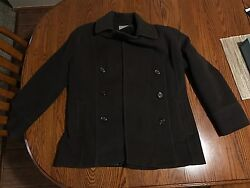 Croft & Barrow Brown Wool Dress Pea Coat Gently Used Women's Large Excellent