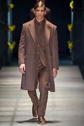 FW15 LOOK #2 VERSACE RUNWAY 100% CASHMERE COAT with SUIT and BOOTS