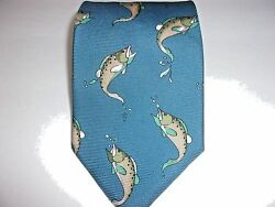 Field and Stream Fish Tie  100%  Imported Silk  Made in the USA