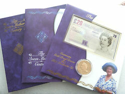 2000 Queen Mother Centenary £5 Five Pound Gold Proof Crown Coin and £20 Banknote