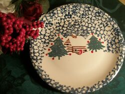 Folk Craft Cabin in the Snow Plate Christmas Serving Platter Holiday Tableware
