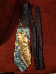 Field & Stream Walleye Pike Fish Fishing Men's Necktie Tie Lure Fisherman SILK