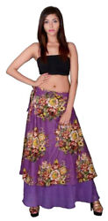 Nw FUNKY STUFF hippy funky floral cotton maxi wrap SKIRT fits S M L XL Free ship $16.96