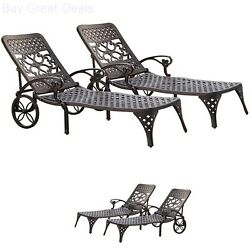 Chaise Lounge Chair Set Of 2 Outdoor Patio Furniture Black Garden Pool Relaxers
