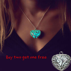 Glow in The Dark Women's Heart of The Ocean Pendant Necklace Chains Gift Jewelry