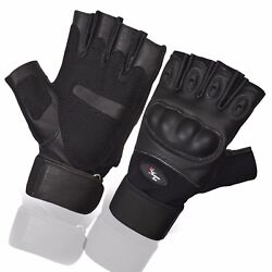Black Fingerless Tactical Assault Contact Gloves Hard Knuckle Military Army GBP 10.99