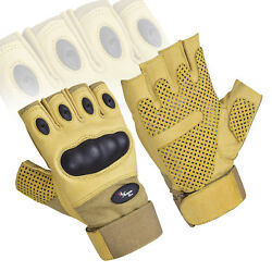 Coyote Fingerless Tactical Assault Contact Gloves Hard Knuckle Military Army GBP 10.99