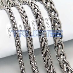 20 30#x27;#x27; MENS Stainless Steel 3 5 6 8 mm Silver Tone Cuban Curb Chain Necklace $5.27