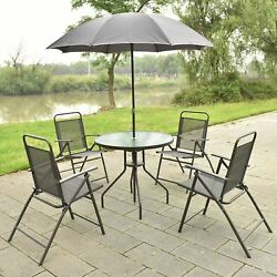 6 Piece Patio Garden Dining Table and 4 Folding Chairs Set w Umbrella Gray
