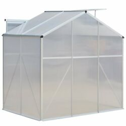 4x6 ft Walk in Greenhouse Clear Cover Heavy Duty Polycarbonate Roof Aluminum Fr