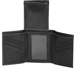 Scully Leather Mens Tri-Fold Wallet wID Italian Leather 2000WBlackUS