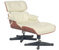 DOLLHOUSE MINIATURE 1956 STYLE WHITE EAMES LOUNGE CHAIR AND OTTOMAN #S8017