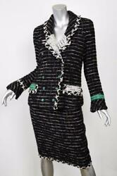 CHANEL Womens Black Green AD CAMPAIGN 09 Tweed Coat Jacket Skirt Suit 46-3638