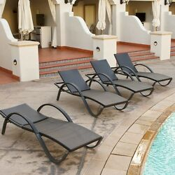 Chaise Lounge Set 4pc Cushion Furniture Wide Pool Outdoor Chair Brown Patio Deck