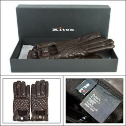 $1295 NIB KITON Italy Brown Leather Cashmere Short Driving Gloves Mens 8 12 M