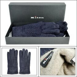 $1295 NIB KITON Navy Freckled Suede leather Cashmere Wrist Gloves Mens 8 12 M L