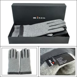 $1295 NIB KITON Italy Gray Knit Leather Cashmere Wrist Length Mens Gloves 9  L