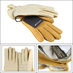 $1295 New KITON Italy Beige Tan Leather Cashmere Womens Wrist Gloves 7 12 S M