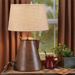 Antique Copper Teapot Lamp with Shade Unique Country Western Lodge Home Decor