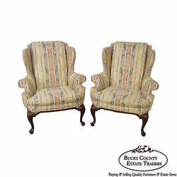 Drexel Heritage Pair of Mahogany Frame Queen Anne Style Wing Chairs