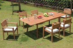 7 PC DINING TEAK STACKING CHAIRS PATIO FURNITURE NEW X02 - MONTANA COLLECTION
