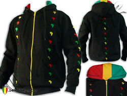 Rasta Hoodie Jacket Thick High Quality Africa Power Logo Embroidered