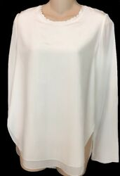 Chloe blouse Milk White Silk Long Sleeve  NWT $895 Size 36