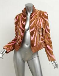 GIANNI VERSACE COUTURE Stripe Tan Pink MINK Fur Leather Bomber Jacket Coat 428