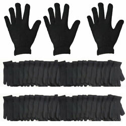WHOLESALE LOT MEN WOMEN SOLID PLAIN BLACK MAGIC WARM WINTER SNOW KNITTED GLOVES