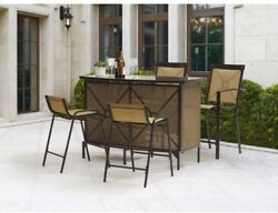 Outdoor Garden Furniture Bar Height 5 Piece Table Chairs Set Yard Patio Dining