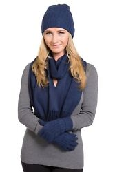 Stylish Hat Gloves Scarf 3 Pieces Set Gift Box 100% Cashmere Warm Soft Outdoors