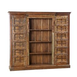 Rustic Vintage Style Carved Wood BookcaseCabinet