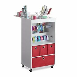 New Real Simple Home Gift Wrap Rolling Cart Storage Cabinet Organizer