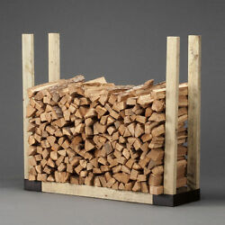 HY-C Company Adjustable Firewood Log Rack Bracket Kit with Wood Sides and Base