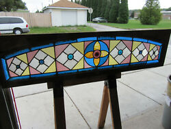 ~ ANTIQUE AMERICAN STAINED GLASS TRANSOM WINDOW  ~ 66 X 16 ARCHITECTURAL SALVAGE