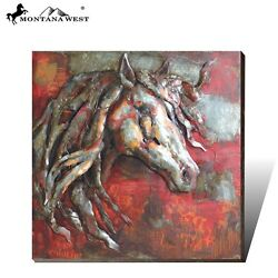 Montana West Metal 3D Wall Art Painting Western Horse Rodeo Western Home Decor