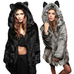 US Women Winter Cat Ears Faux Fur Parka Jacket Long Hooded Outwear Coat Overcoat