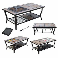 4 in 1 Tile Top Outdoor Fire Pit Table Wood Burning Grill Cooler Coffee Table