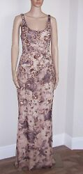 BADGLEY MISCHKA 100% Silk Beaded & Flocked Sleeveless Gown wTrain SZ 8 $4750.