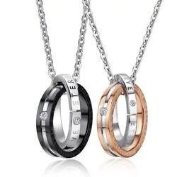Stainless Steel Interlocking Ring His and Hers Eternal Love Couple Necklace