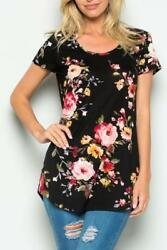 Black Floral Short Sleeve High Low Knit Top $17.00