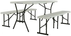 Fold-in-Half- Picnic Table Bench Chair Outdoor Garden Patio Dining Furniture
