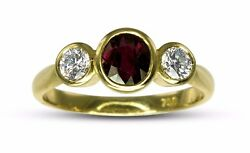 REDUCED 18k Yellow Gold 1.00ct Oval Red Ruby & 0.44ct Diamond Dress Ring #82023