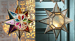 Large star glass hanging lantern Moroccan style clear or coloured NEW GBP 27.99