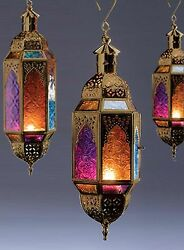 Hanging glass lantern antique gold blue amber pink glass Moroccan style NEW GBP 27.54